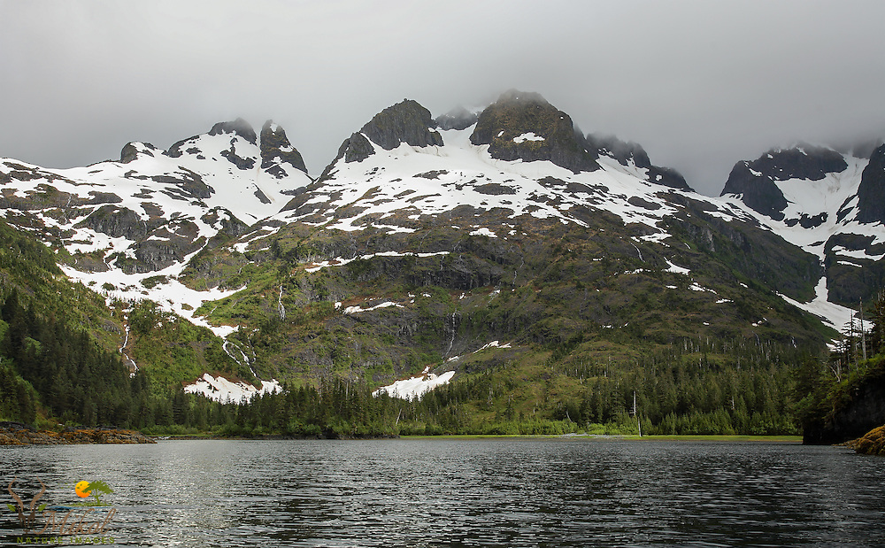Mountains, dense cloud cover, sheltered cove in Prince William Sound