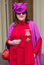 Harpers Bazaar Editor in Chief Glenda Bailey was invested as a Dame for services to the GREAT Britain campaign and UK prosperity, charity, fashion and journalism at an investiture ceremony conducted by Prince William, Duke of Cambridge at Buckingham Palace. Hat by Philip Tracey, Dress by Valentino, bag by Gabriela Hearst, shoes by Jimmy Choo. London, May 09 2019.