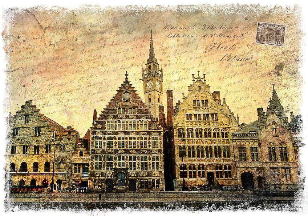 Ghent, Belgium - Forgotten Postcard digital art collage