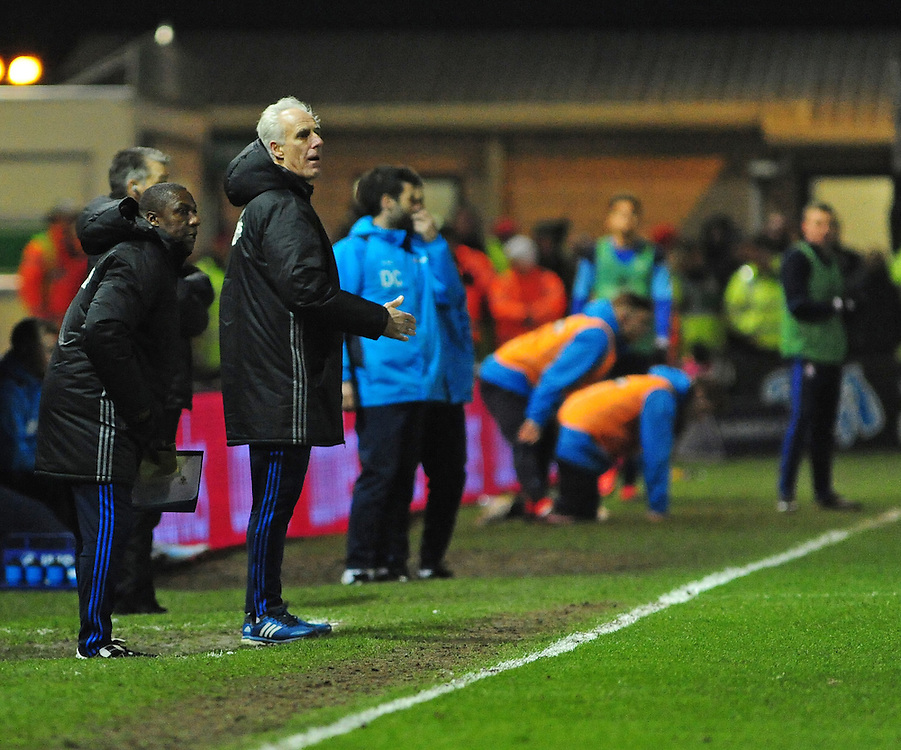 Ipswich Town manager Mick McCarthy shouts instructions to his team from the dug-out<br /> <br /> Photographer Andrew Vaughan/CameraSport<br /> <br /> Emirates FA Cup Third Round Replay - Lincoln City v Ipswich Town - Tuesday 17th January 2017 - Sincil Bank - Lincoln<br />  <br /> World Copyright © 2017 CameraSport. All rights reserved. 43 Linden Ave. Countesthorpe. Leicester. England. LE8 5PG - Tel: +44 (0) 116 277 4147 - admin@camerasport.com - www.camerasport.com