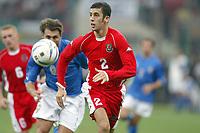 Fotball<br /> EM-kvalifisering<br /> 06.09.2003<br /> Italia v Wales<br /> NORWAY ONLY<br /> Foto: Digitalsport<br /> <br /> FOOTBALL - EURO 2004 - ELIMINATORIES ROUND - GROUP 9 - ITALY v WALES - 030906 - ANTONY DELANEY (WAL) - PHOTO JEAN MARIE HERVIO