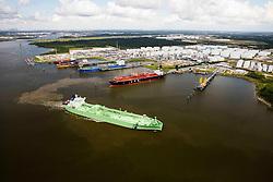 BW Leo oil tanker leaving berth in ship channel at Port of Houston.