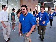 14 OCTOBER 2011 - SCOTTSDALE, AZ:   Apple Store employees run around the Apple Store at the Scottsdale Quarter just before opening the store and starting sales of the iPhone 4S. Hundreds of people lined up at the Apple Store in the Scottsdale Quarter in Scottsdale, AZ, Friday, Oct. 14, to buy the iPhone 4S. The phone sold out in pre-orders last week and sales at the Scottsdale Apple Store were brisk through the morning.   PHOTO BY JACK KURTZ