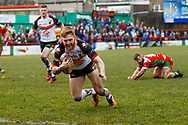 Bradford Bulls stand off Joe Keyes (6) scores a try to make the score 0-22 during the Betfred League 1 match between Keighley Cougars and Bradford Bulls at Cougar Park, Keighley, United Kingdom on 11 March 2018. Picture by Simon Davies.