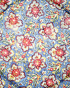 abstraction with colorful flowery fabric and line forms