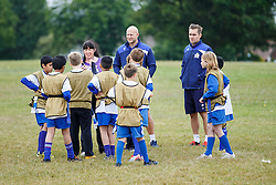Josh Ovens and Adrian Jarvis of Bristol Rugby look on as Local Junior Schools compete in a Tag Rugby Competion - Mandatory byline: Rogan Thomson/JMP - 07966 386802 - 14/07/2015 - SPORT - RUGBY UNION - Bristol, England - Durdham Downs -  Webb Ellis Cup visits Bristol as part of the 2015 Rugby World Cup Trophy Tour