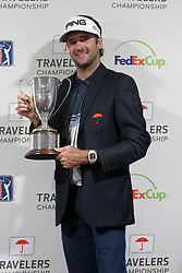 June 24, 2018 - Cromwell, Connecticut, United States - Bubba Watson holds the trophy after winning the Travelers Championship at TPC River Highlands. (Credit Image: © Debby Wong via ZUMA Wire)