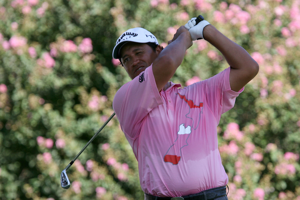 10 August 2007: Michael Campbell tees off on the 9th hole during the second round of the 89th PGA Championship at Southern Hills Country Club in Tulsa, OK.