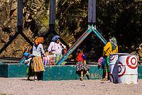 Tarahumara Indian women and girls at the train station, Bahuichivo, Copper Canyon, Mexico