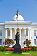 "The Alabama state capitol building Montgomery, AL, USA. Statue to fallen police officers, ""Duty Called"" Memorial,"