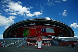 June 28, 2017 - Vista externa da Arena Kazan, horas antes da partida entre Portugal x Chile válida pelas semifinais da Copa das Confederações 2017, nesta quarta-feira (28), realizada no Estádio da Arena Kazan, na cidade de Kazan, na Rússia. (Credit Image: © Heuler Andrey/Fotoarena via ZUMA Press)