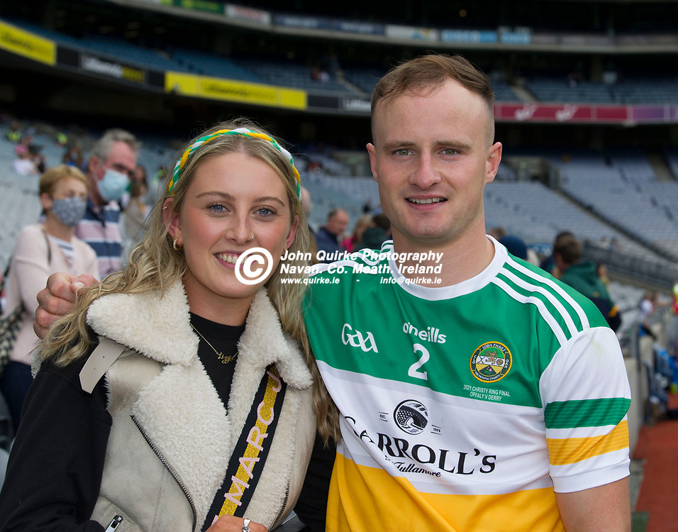 01–08-21.<br /> Derry v Offaly - Christy Ring Cup Final at Croke Park.<br /> Paddy Delaney with his girlfriend Lizzy Harding from Riverstown.<br /> Photo: John Quirke / www.quirke.ie<br /> ©John Quirke Photography, 16 Proudstown Road, Navan. Co. Meath. (info@quirke.ie / 046-9028461 / 087-2579454).