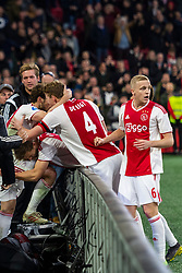 13-03-2019 NED: Ajax - PEC Zwolle, Amsterdam<br /> Ajax has booked an oppressive victory over PEC Zwolle without entertaining the public 2-1 / Noa Lang #37 of Ajax, Daley Blind #17 of Ajax, Matthijs de Ligt #4 of Ajax, Donny van de Beek #6 of Ajax