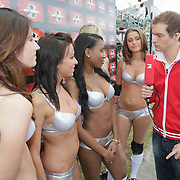 NLD/Amsterdam/20080518 - Opname strafschoppen EK Lingerie, het Franse team word geinterviewd