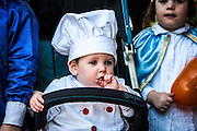 Baby in Purim costume Photographed in Bnei Brak, Israel