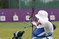 Paralympics London 2012 - ParalympicsGB - Archery Womens Individual Recurve - Standing Heats 30th August 2012<br />   <br /> Leigh Walmsley competing in the Womens Archery Individual Recurve - Standing Heats at the Paralympic Games in London. Photo: Richard Washbrooke/ParalympicsGB