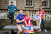 NO FEE PICTURES<br /> 11/2/16 Aoibhin Garrihy aka Sorcha, Rory Nolan aka Ross, Laurence Kinlan (back left) aka Ronan, Roisin O'Neill, aka Honor and Emmet Byrne as Traolach,   at a photocall to anounce the return of Ross O'Carroll Kelly's Breaking Dad to the Gaiety Theatre. With record breaking sales of over 45,000 tickets, rave reviews and standing ovations every night Breaking Dad returns to the Gaiety for the final time for strictly two weeks from Monday March 14th until Saturday March 26th 2016. Picture: Arthur Carron