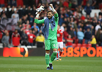Jordan Smith celebrates after a win following the conclusion to the second half of the EFL fixture between Nottingham Forest and Middlesborough at The City Ground, Nottingham - 19th August 2017