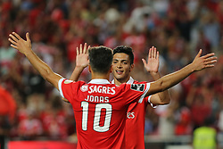 August 19, 2017 - Lisbon, Lisbon, Portugal - Benficas forward Jonas from Brazil celebrating with Benficas forward Raul Jimenez from Mexico (F) after scoring a goal during the Premier League 2017/18 match between SL Benfica v CF Belenenses, at Luz Stadium in Lisbon on August 19, 2017. (Credit Image: © Dpi/NurPhoto via ZUMA Press)