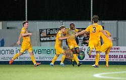 Morton's Kudus Oyenuga cele scoring their goal. Falkirk 0 v 1 Morton, Scottish Championship game played 18/3/2017 at The Falkirk Stadium.