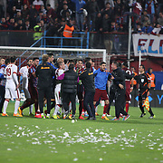 Trabzonspor's and Galatasaray's players during their Turkish SuperLeague Derby match Trabzonspor between Galatasaray at the Avni Aker Stadium at Trabzon Turkey on Sunday, 19 April 2015. Photo by TVPN/TURKPIX
