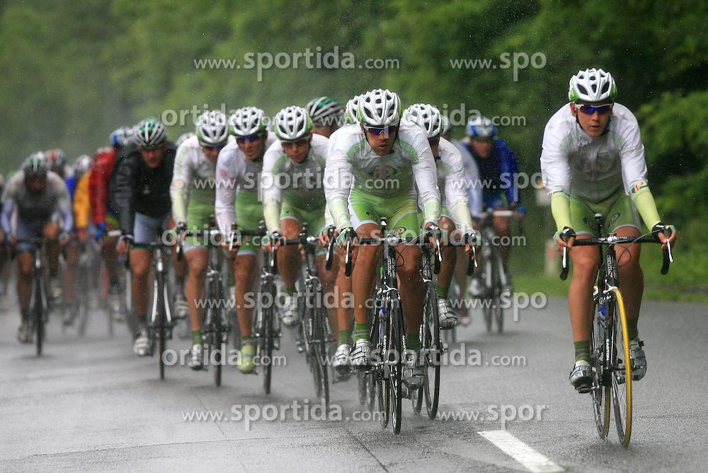 Riders of team Perutnina Ptuj (in front Gregor Gazvoda of Slovenia (Perutnina Ptuj) and Kristjan Fajt of Slovenia (Perutnina Ptuj)) leading the peloton in last 4th stage of the 15th Tour de Slovenie from Celje to Novo mesto (157 km), on June 14,2008, Slovenia. (Photo by Vid Ponikvar / Sportal Images)/ Sportida)
