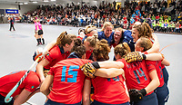 HAMBURG  (Ger) - Semi Final , match 15,  LHMC Laren v Der Club an der Alster (Ger) (5-3)  . Foto: Laren celebrates the win.  . Eurohockey Indoor  Club Cup 2019 Women . WORLDSPORTPICS COPYRIGHT  KOEN SUYK