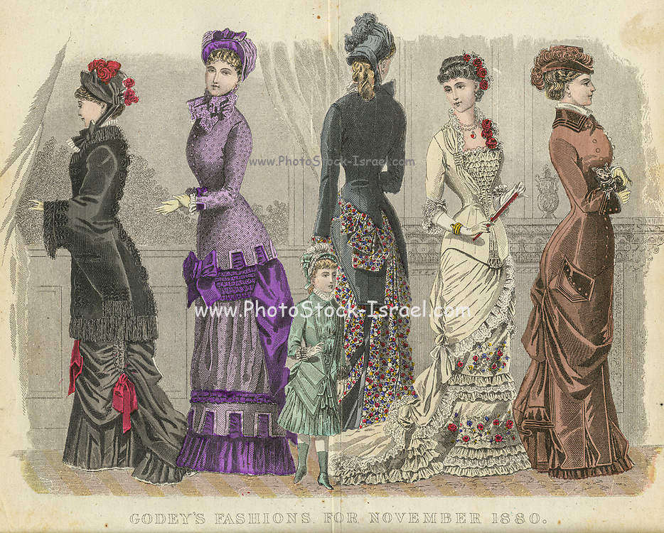 Colour drawing of Godey's women's Fashion for November 1880 from Godey's Lady's Book and Magazine, 1880 Philadelphia, Louis A. Godey, Sarah Josepha Hale,