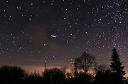 Dec. 14, 2015 - Avren, Bulgaria - <br /> The ISS is seen over the night sky during the Gemenids meteor shower in the observatory of Avren, East of the Bulgarian capital Sofia, Dec.14, 2015..The Geminids are a meteor shower caused by the object Phaeton 30120 which is thought to be a Palladain Asteroid with a ''rock comet'' orbit. This would make the Geminids, together with the Quadrantids  the only major meteor showers not originating from a Comet. The meteors from this shower are slow moving, can be seen in December and usually peak around December 13 and 14. <br /> ©Exclusivepix Media