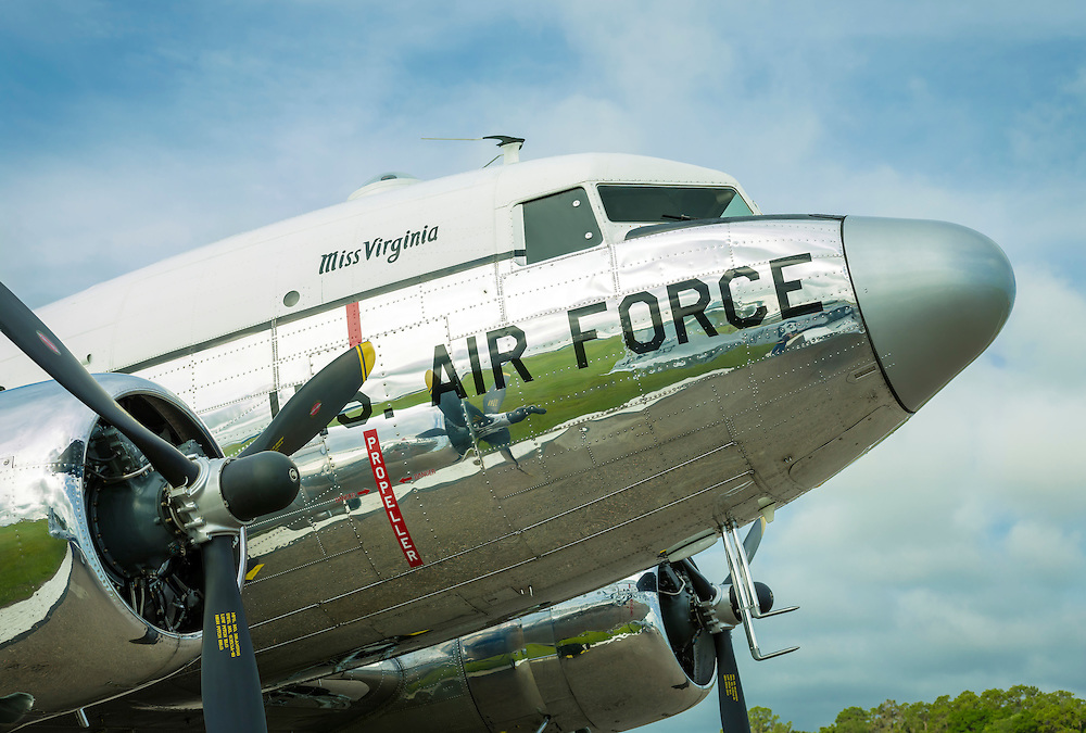 """""""Miss Virginia"""", a restored US Air Force DC-3, owned and flown by Dynamic Aviation of Bridgewater, Virginia.  <br /> <br /> Created by aviation photographer John Slemp of Aerographs Aviation Photography. Clients include Goodyear Aviation Tires, Phillips 66 Aviation Fuels, Smithsonian Air & Space magazine, and The Lindbergh Foundation.  Specialising in high end commercial aviation photography and the supply of aviation stock photography for advertising, corporate, and editorial use."""