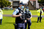 Heavy Police presence during the Black Lives Matter rally. This event was organised to rally against black deaths in custody in Australia as well as George Floyd, an unarmed black man killed at the hands of a police officer in Minneapolis, Minnesota and David Dungay who died in custody at Long Bay prison in Sydney. (Photo by Pete Dovgan/ Speed Media)