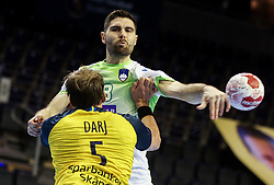 Blaz Janc of Slovenia during handball match between National Teams of Sweden and Slovenia at Day 3 of IHF Men's Tokyo Olympic  Qualification tournament, on March 14, 2021 in Max-Schmeling-Halle, Berlin, Germany. Photo by Vid Ponikvar / Sportida