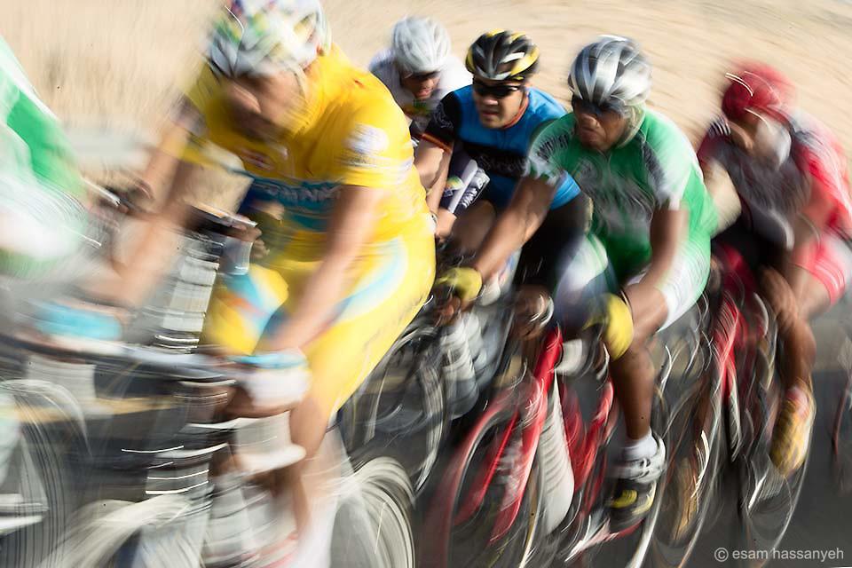 Cyclists on a training run in Dubai