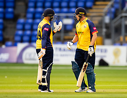 Cameron Delport of Essex with team-mate Tom Westley<br /> <br /> Photographer Simon King/Replay Images<br /> <br /> Vitality Blast T20 - Round 8 - Glamorgan v Essex - Friday 9th August 2019 - Sophia Gardens - Cardiff<br /> <br /> World Copyright © Replay Images . All rights reserved. info@replayimages.co.uk - http://replayimages.co.uk