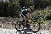 France, Sunday 12th April 2015: Kevin Ledanois (Bretagne Seche Environnement) on the Pont Gibus section of pave during the 2015 edition of the Paris Roubaix elite men's cycle race.