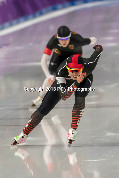 Yu Jing (CHN) competiting in the Speed Skating - Womens' 1000m at the Olympic Winter Games PyeongChang 2018