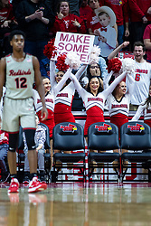 """NORMAL, IL - February 26: Illinois State Redbird Cheerleaders """"Make Some Noise"""" during a college basketball game between the ISU Redbirds and the Bradley Braves on February 26 2020 at Redbird Arena in Normal, IL. (Photo by Alan Look)"""