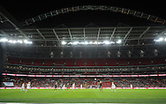 The famous Wembley Stadium with the floodlit arch during the 2nd half of the match<br /> - Womens International Football - England vs Germany - Wembley Stadium - London, England - 23rdNovember 2014  - Picture Robin Parker/Sportimage