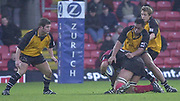 Watford, Hertfordshire, 08.12.2001, Zurich Premiership Rugby,   [L] Tom May,  Stands off in the defence, as Epi Taione and Jonny Wilkinson tackle the Saracens player, during the, Saracens vs Newcastle Falcons, match played at, Vicarage Road, <br /> [Mandatory Credit: Peter Spurrier/Intersport images]