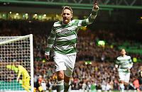 02/10/14 UEFA EUROPA LEAGUE<br /> CELTIC v GNK DINAMO ZAGREB<br /> CELTIC PARK - GLASGOW<br /> Celtic's Kris Commons celebrates after opening the scoring