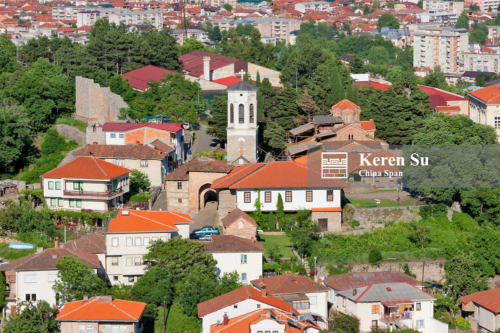 View of Clock Tower and houses in Ohrid from Tsar Samuil's Fortress, Ohrid, Republic of Macedonia