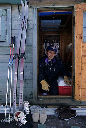 Japan, Japanese resident skier. Lake Kussharo