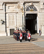 Soldiers in traditional dress uniform, Palacio Real royal palace, Madrid, Spain