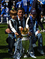 Jose Mourinho Manager and his Children celebrate with Premier League Trophy<br />Chelsea Champions 2004/05<br />Chelsea V Charlton Athletic 07/05/05<br />The Premier League<br />Photo Robin Parker Fotosports International