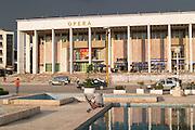 The opera house and fountain. The Tirana Main Central Square, Skanderbeg Skanderburg Square. Tirana capital. Albania, Balkan, Europe.