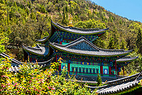 The Dragon God Temple (Longshen Temple) in Black Dragon Pool Park, Lijiang, Yunnan Province, China.