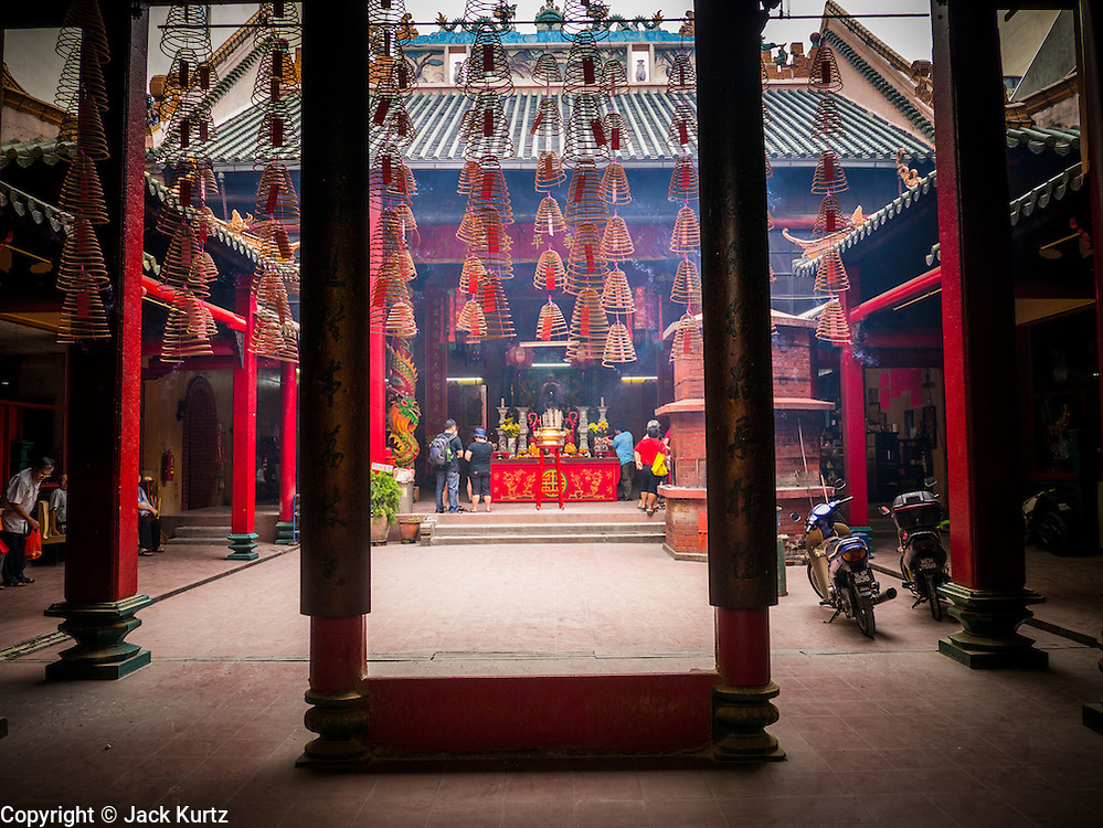 20 DECEMBER 2012 - KUALA LUMPUR, MALAYSIA: The entrance to the Guan Di Temple in Kuala Lumpur, Malaysia. The Guan Di Temple (God of War Temple) was built in 1888 and is one of the oldest Chinese Temples in Kuala Lumpur.   PHOTO BY JACK KURTZ