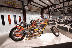 Dave Perewitz' The Sting custom 1964 Harley-Davidson Survivor custom Sportster in the What's the Skinny Exhibition (2019 iteration of the Motorcycles as Art annual series) at the Sturgis Buffalo Chip during the Sturgis Black Hills Motorcycle Rally. SD, USA. Thursday, August 8, 2019. Photography ©2019 Michael Lichter.