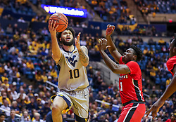 Dec 1, 2018; Morgantown, WV, USA; West Virginia Mountaineers guard Jermaine Haley (10) shoots in the lane during the second half against the Youngstown State Penguins at WVU Coliseum. Mandatory Credit: Ben Queen-USA TODAY Sports