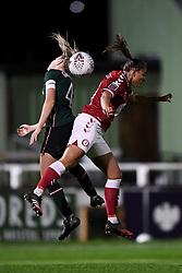 Josie Green of Tottenham Hotspur Women contends for the aerial ball with Abi Harrison of Bristol City Women - Mandatory by-line: Ryan Hiscott/JMP - 14/11/2020 - FOOTBALL - Twerton Park - Bath, England - Bristol City Women v Tottenham Hotspur Women - Barclays FA Women's Super League